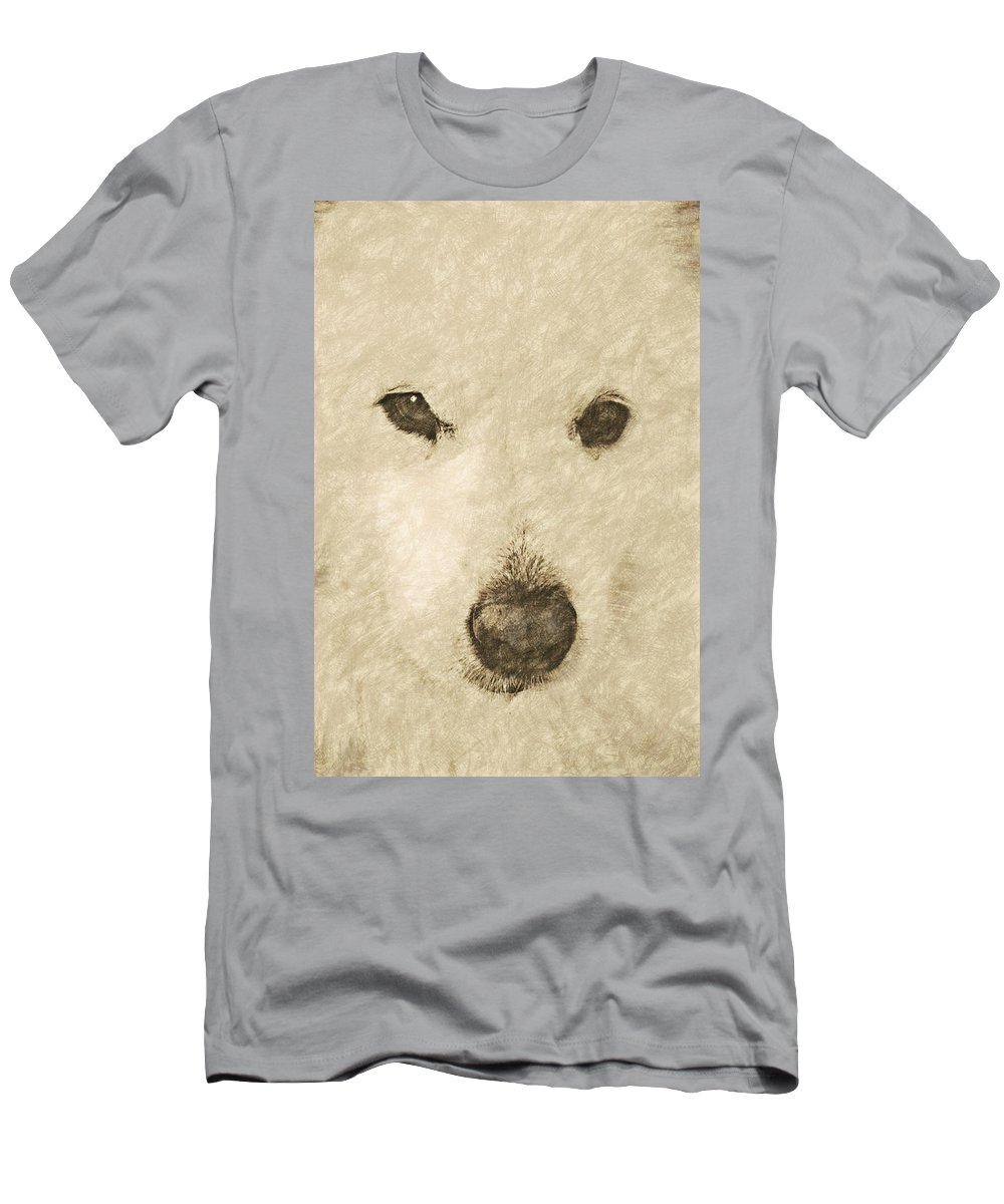 Dog Men's T-Shirt (Athletic Fit) featuring the digital art Lucy Silver Point Hp by David Lange