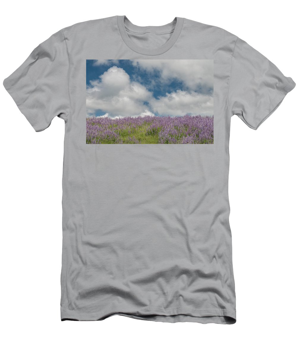 Lupine Men's T-Shirt (Athletic Fit) featuring the photograph Lupine Field Under Clouds by Greg Nyquist