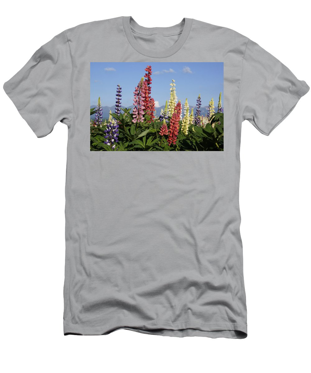 Feb0514 Men's T-Shirt (Athletic Fit) featuring the photograph Lupinus Flowers Hokkaido Japan by Hiroya Minakuchi