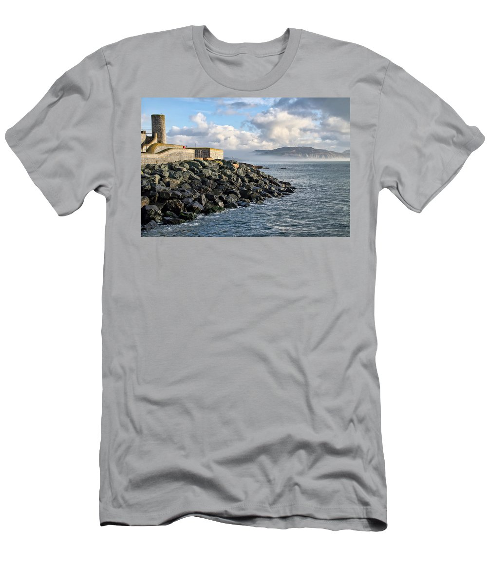 Lyme-regis Men's T-Shirt (Athletic Fit) featuring the photograph Lyme Regis - View Towards Charmouth by Susie Peek
