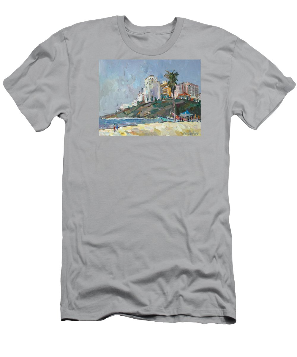 Sea Men's T-Shirt (Athletic Fit) featuring the painting Magenta Day by Juliya Zhukova