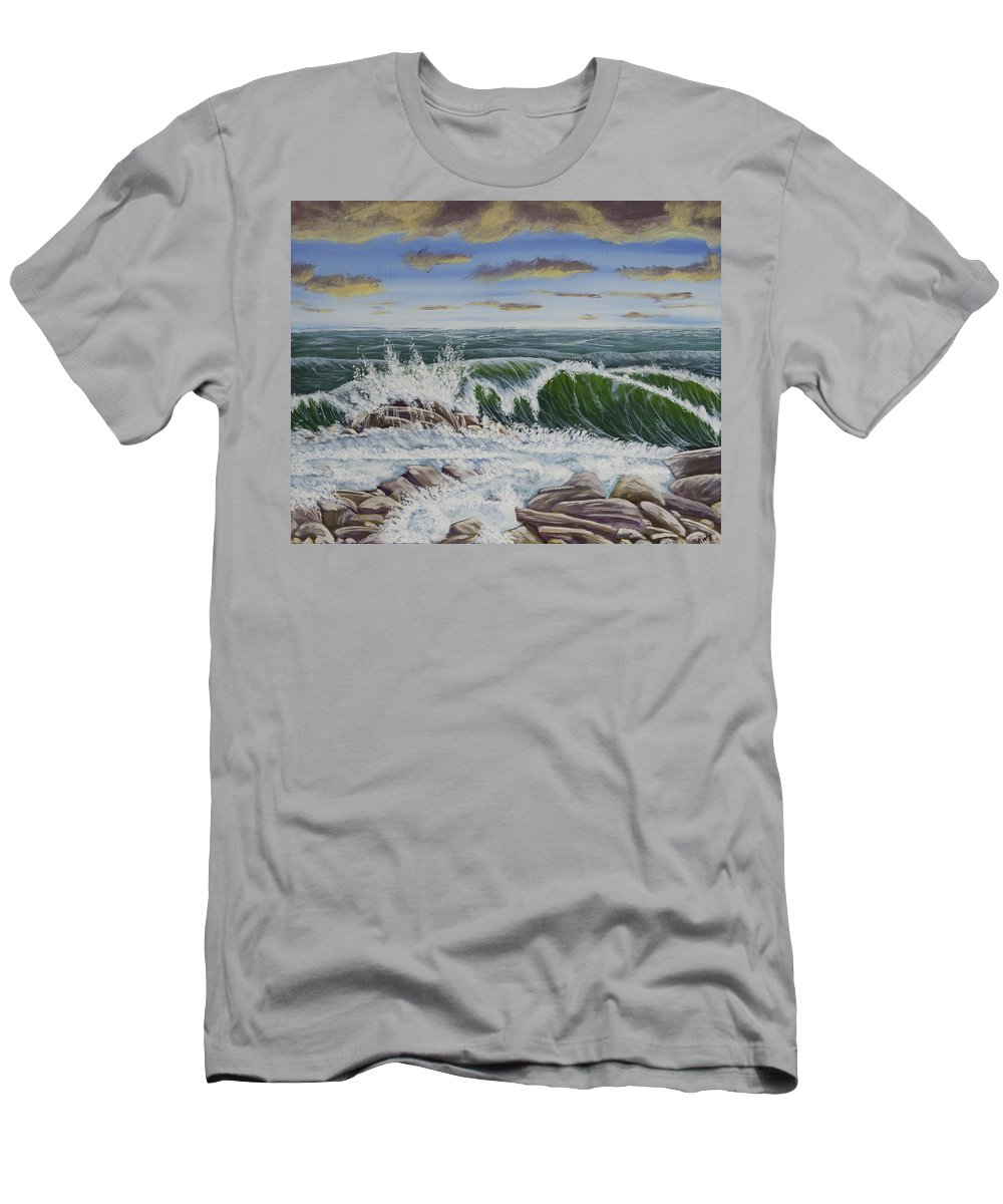 Storm Men's T-Shirt (Athletic Fit) featuring the painting Crashing Waves At Pemaquid Point Maine by Keith Webber Jr