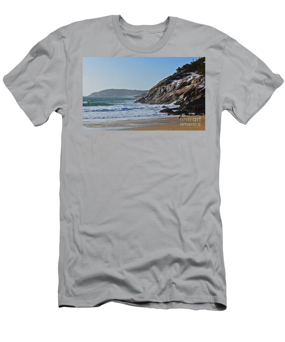 Maine Men's T-Shirt (Athletic Fit) featuring the photograph Maine Surfing Scene by Meandering Photography