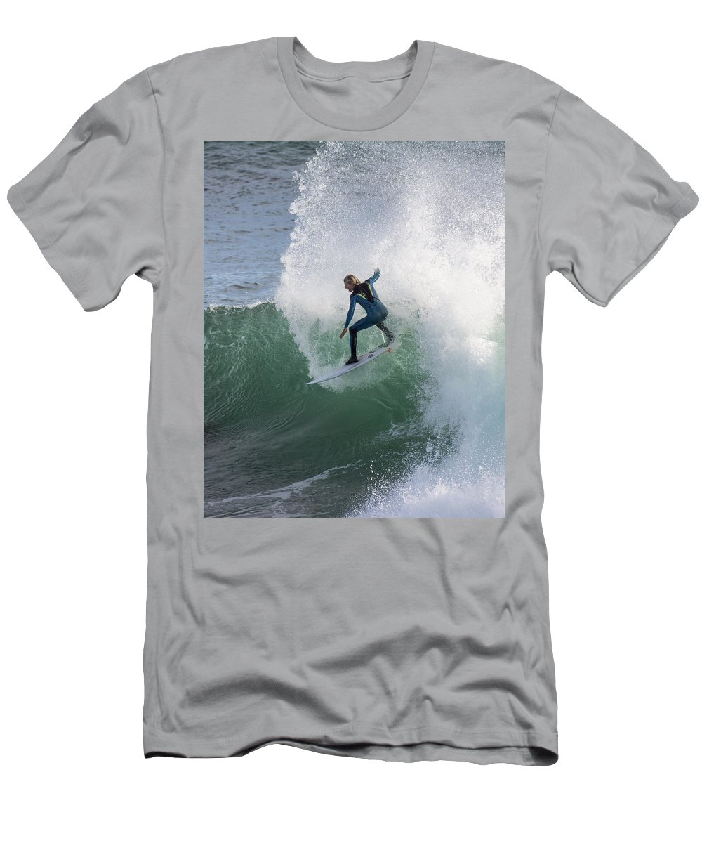 Surf. Surfing Men's T-Shirt (Athletic Fit) featuring the photograph Making A Splash by Bruce Frye