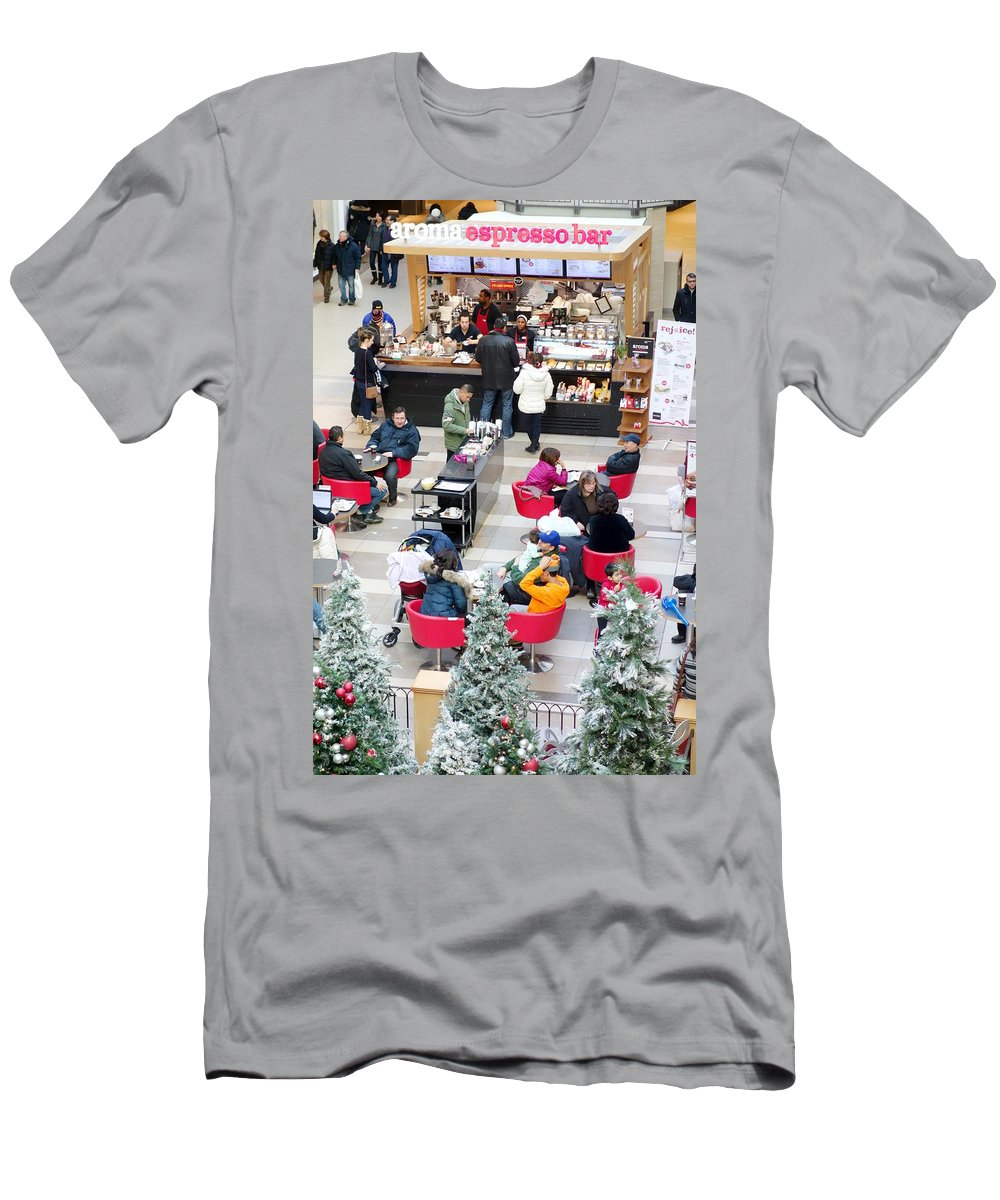 Shopping Men's T-Shirt (Athletic Fit) featuring the photograph Mall Food Court by Valentino Visentini