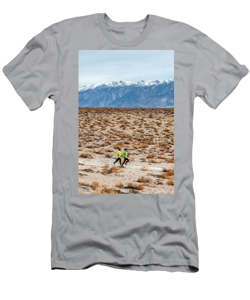 20-29 Years Men's T-Shirt (Athletic Fit) featuring the photograph Man And Woman Trail Running by Rick Saez