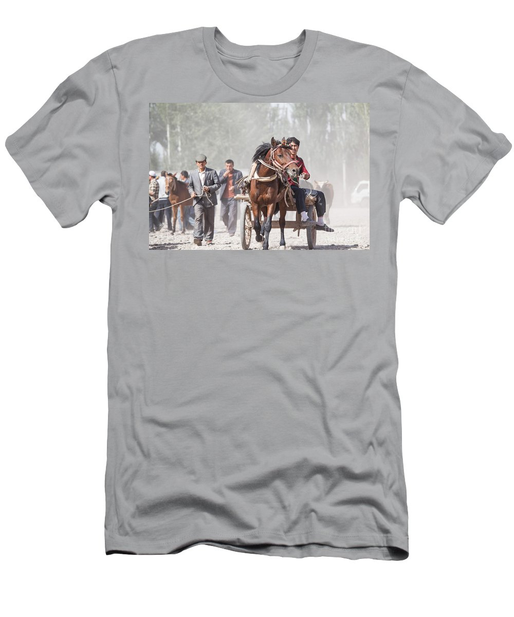 China Men's T-Shirt (Athletic Fit) featuring the photograph Man Riding A Carriage At Kashgar Sunday Market China by Matteo Colombo
