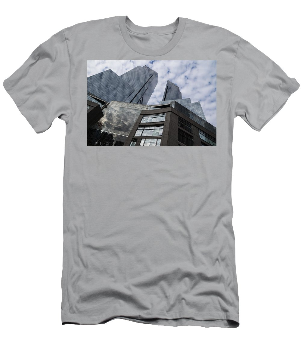 Sky Men's T-Shirt (Athletic Fit) featuring the photograph Manhattan Sky And Skyscrapers by Georgia Mizuleva