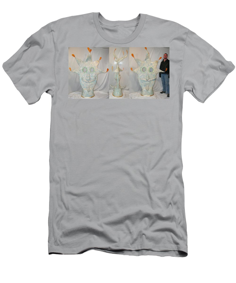 Jester Men's T-Shirt (Athletic Fit) featuring the sculpture Manitou The Jester by Ric Bascobert