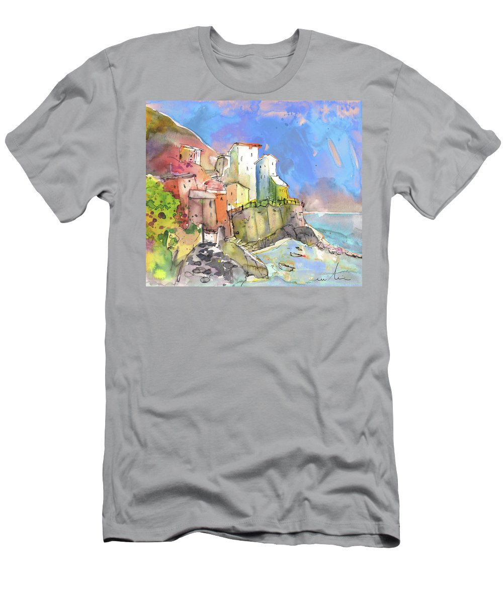 Italy Men's T-Shirt (Athletic Fit) featuring the painting Manorola In Italy 05 by Miki De Goodaboom