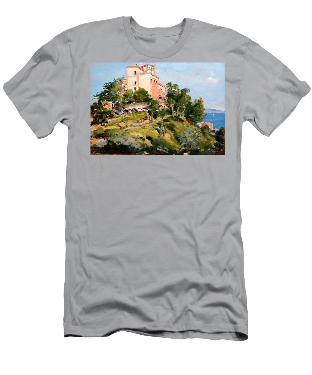 Mansion Men's T-Shirt (Athletic Fit) featuring the painting Mansion Of King Zogu by Sefedin Stafa