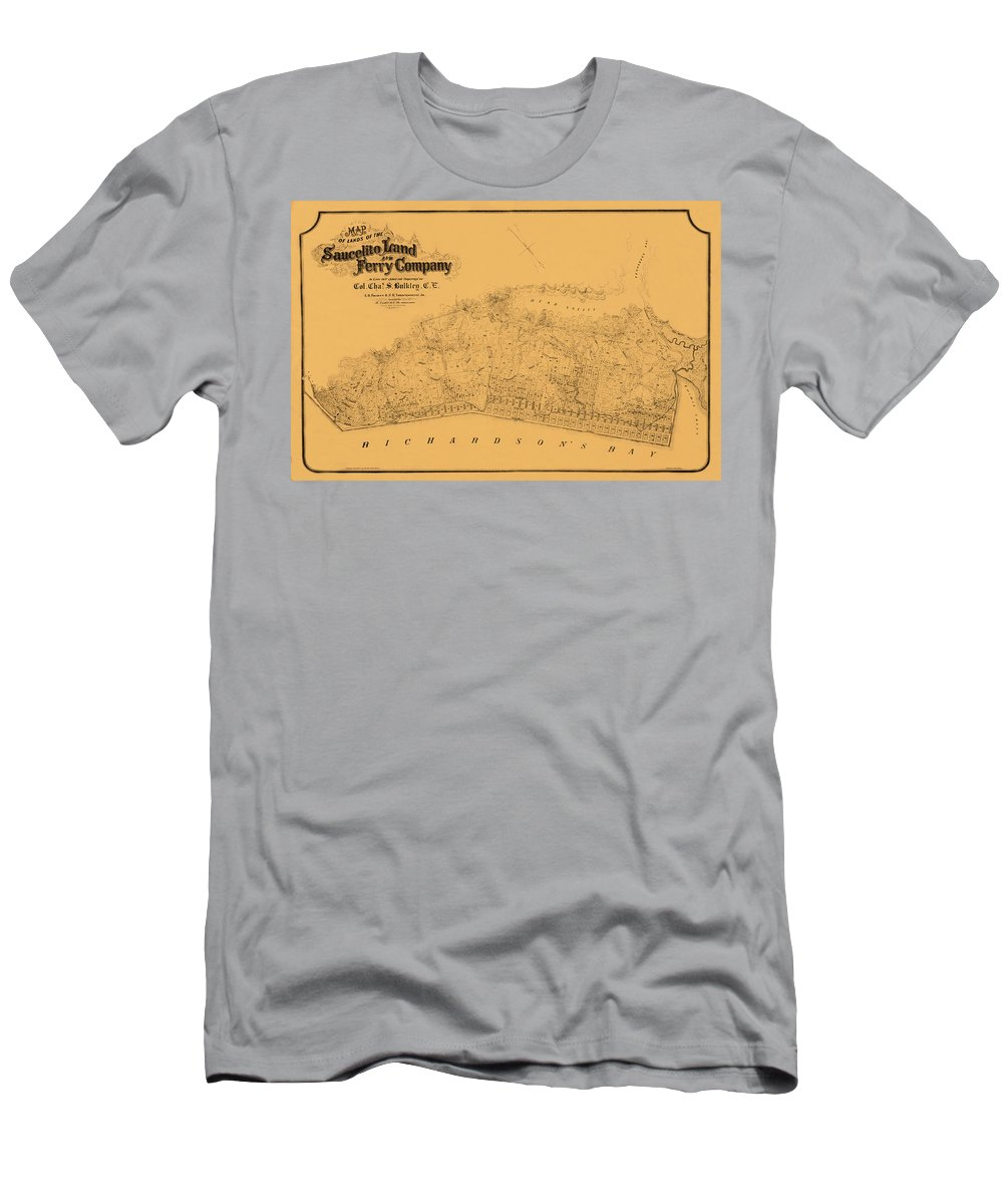 Map Of Sausalito Men's T-Shirt (Athletic Fit) featuring the photograph Map Of Sausalito 1868 by Andrew Fare