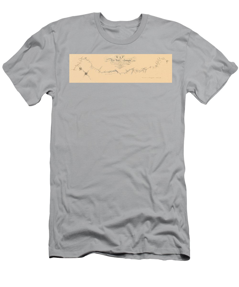 Map Of The Red River Men's T-Shirt (Athletic Fit) featuring the photograph Map Of The Red River 1806 by Andrew Fare