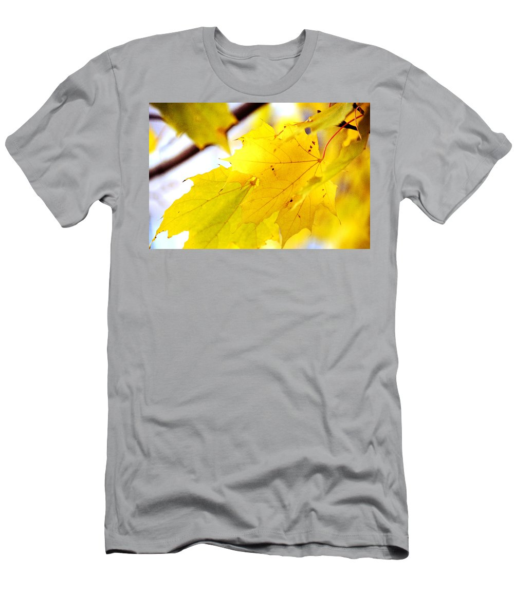 Eaves Men's T-Shirt (Athletic Fit) featuring the photograph Maple Leaves At Autumn Glory 1 by Jenny Rainbow