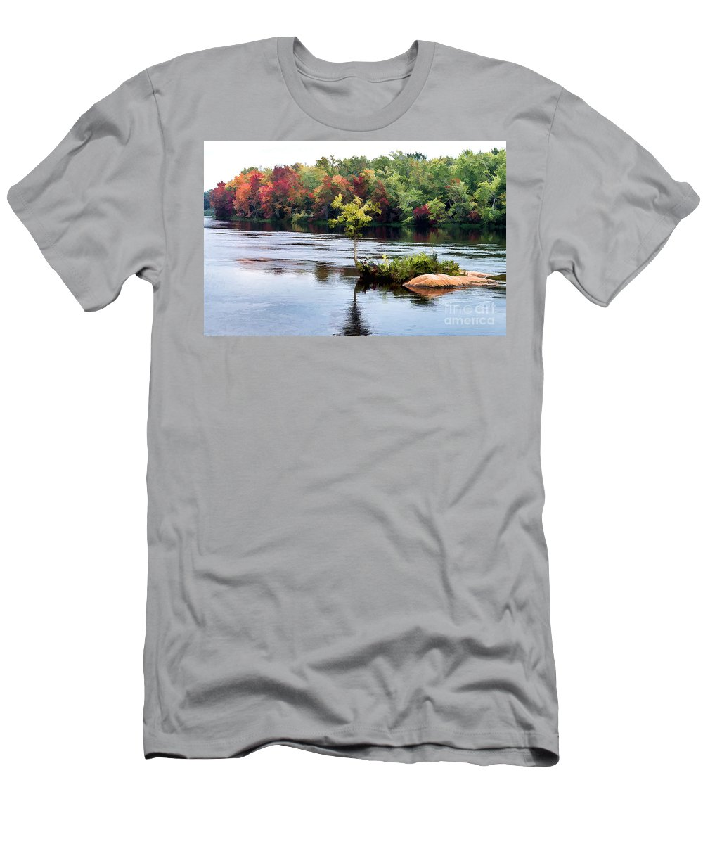 Small Men's T-Shirt (Athletic Fit) featuring the photograph Maple Tree On A Rocky Island - V2 by Les Palenik