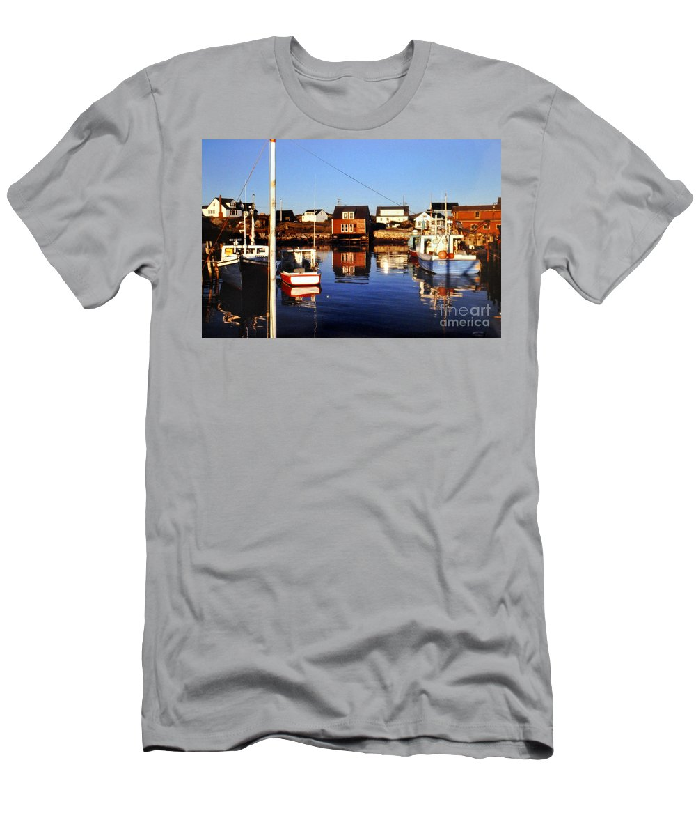 Maritme Men's T-Shirt (Athletic Fit) featuring the photograph Maritme Shadows And Reflections by Lydia Holly