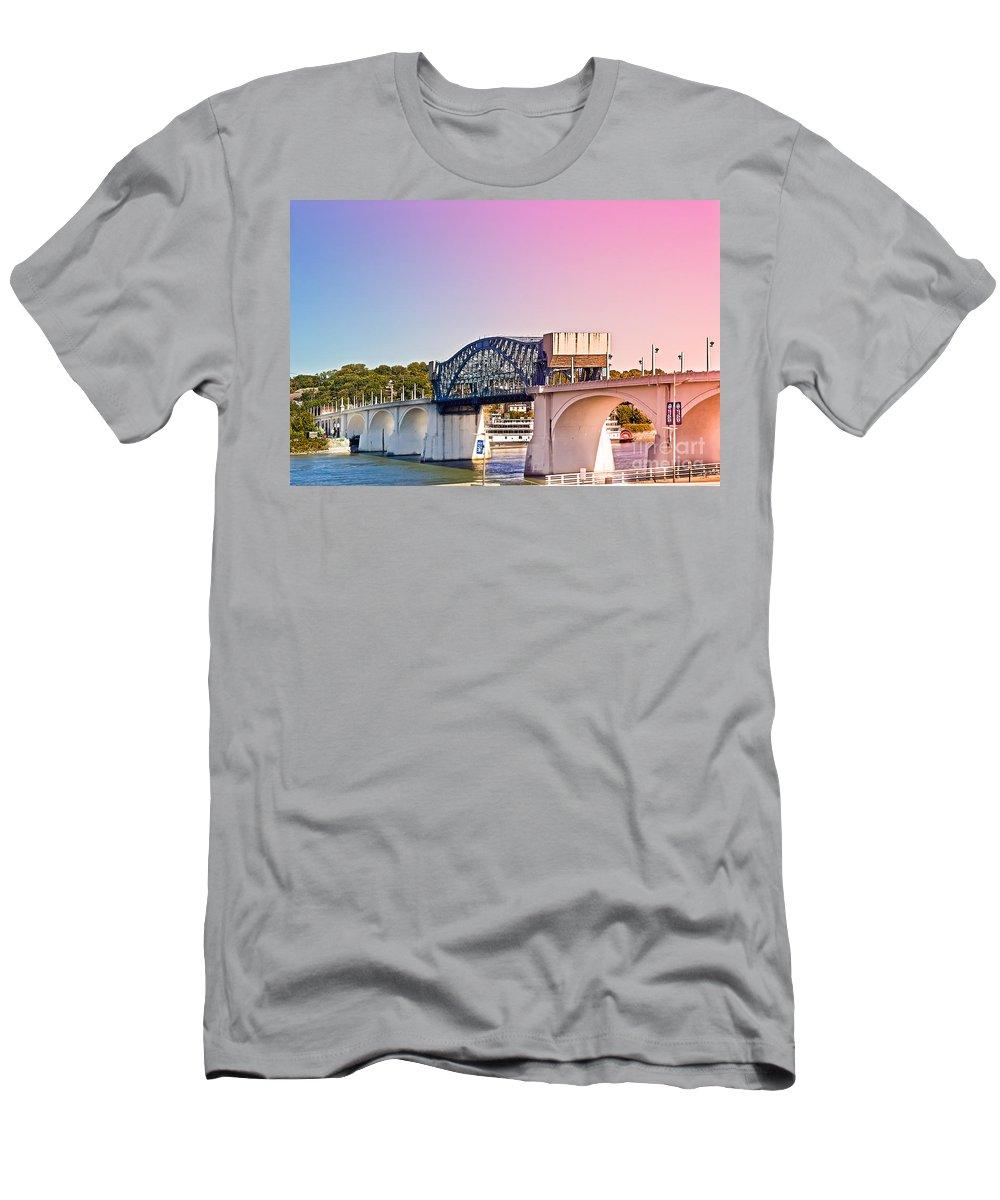 Bridge Men's T-Shirt (Athletic Fit) featuring the photograph Market Street Bridge by Tom Gari Gallery-Three-Photography