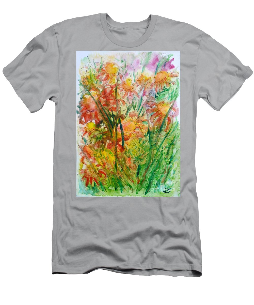 Meadow Flowers Men's T-Shirt (Athletic Fit) featuring the painting Meadow Flowers by Zaira Dzhaubaeva