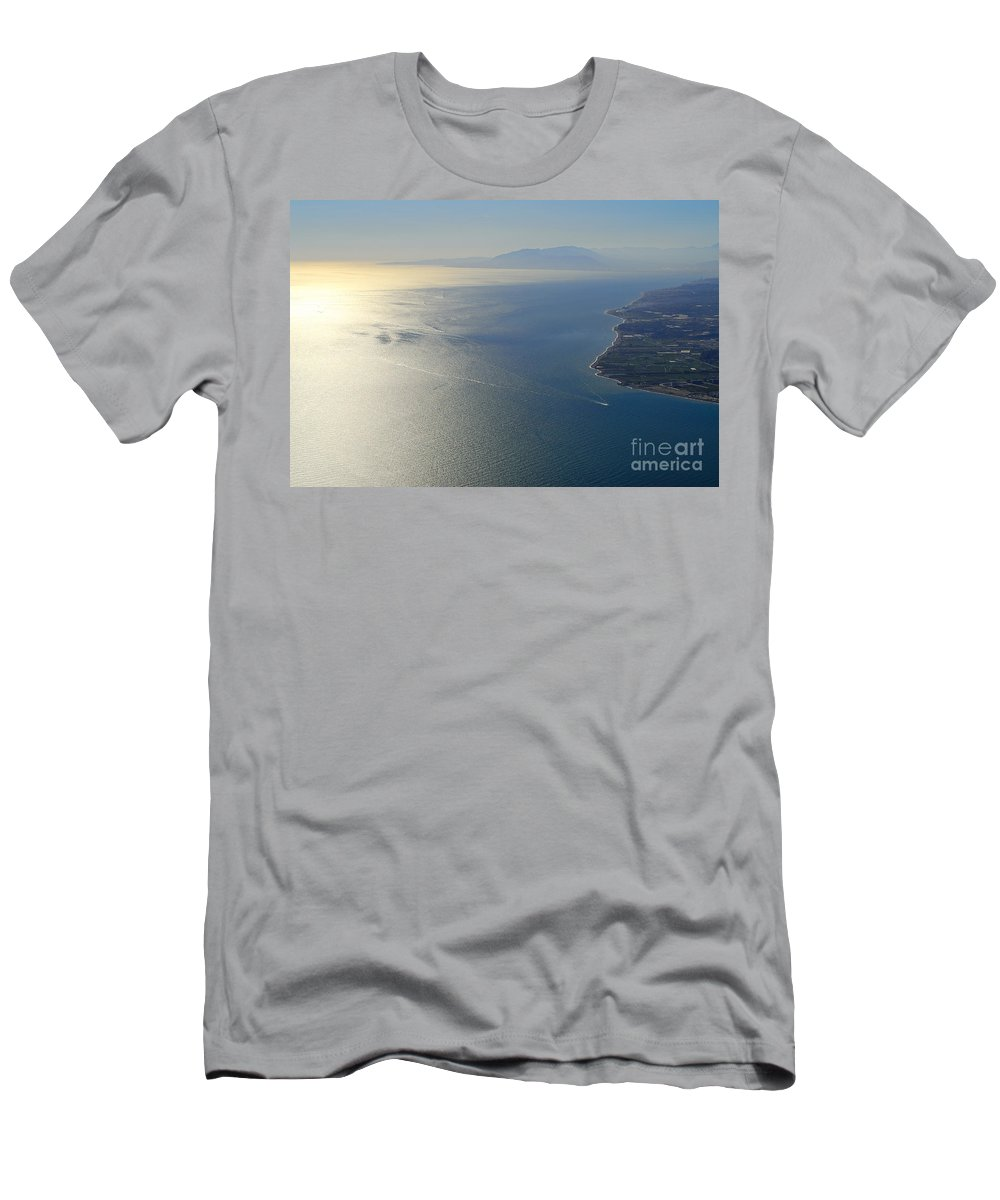 Air Men's T-Shirt (Athletic Fit) featuring the photograph Mediterranean Sea From The Air by Guido Montanes Castillo