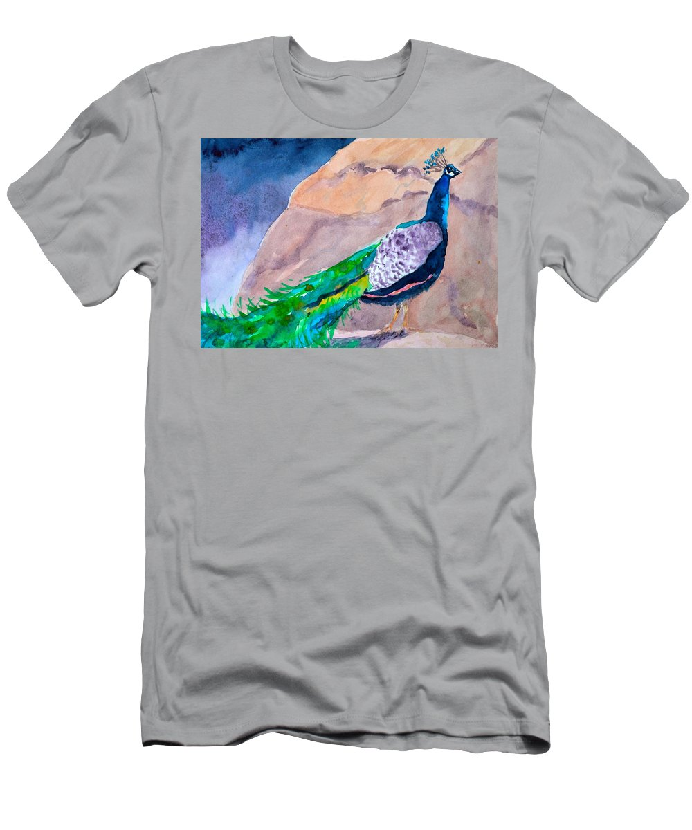 Peacock Men's T-Shirt (Athletic Fit) featuring the painting Mellow Peacock by Beverley Harper Tinsley