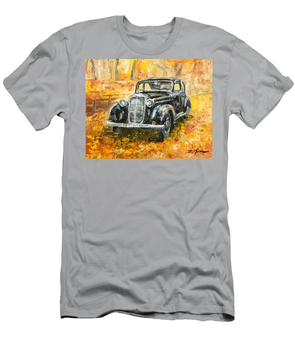 Mercedes Men's T-Shirt (Athletic Fit) featuring the painting Mercedes 170 S by Luke Karcz