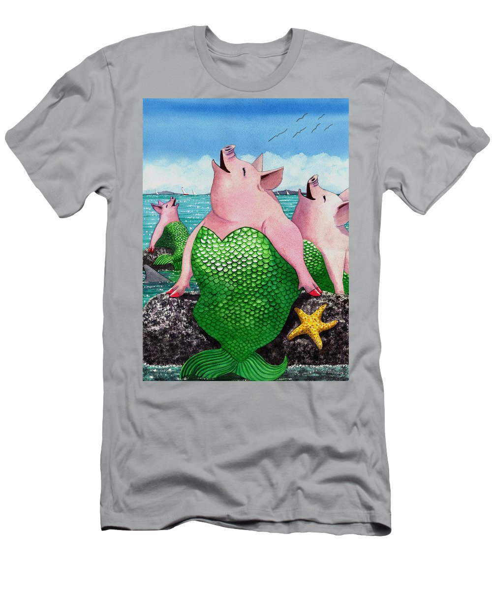 Mermaid T-Shirt featuring the painting Merpigs by Catherine G McElroy