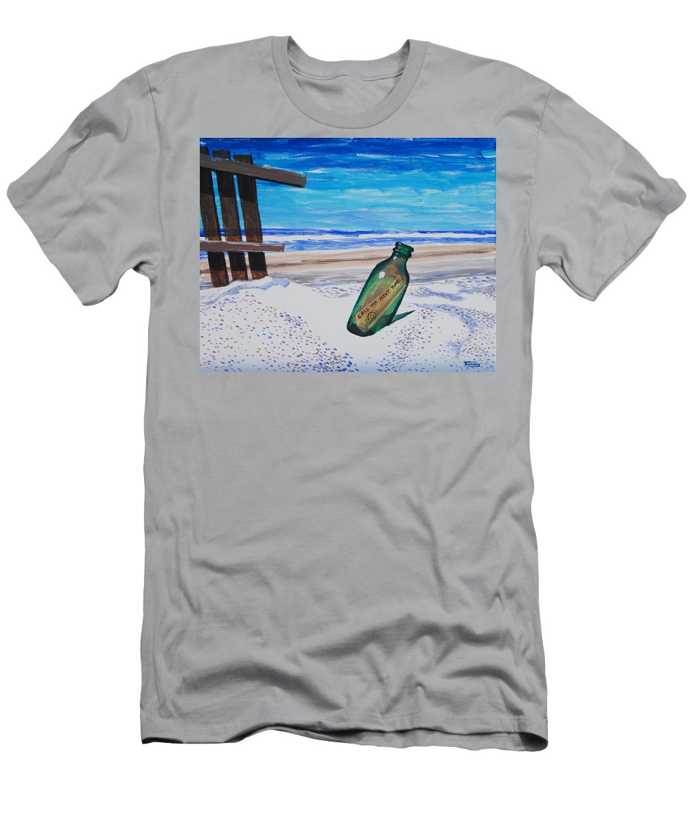 Bottle Men's T-Shirt (Athletic Fit) featuring the painting Message In A Bottle by Tommy Midyette