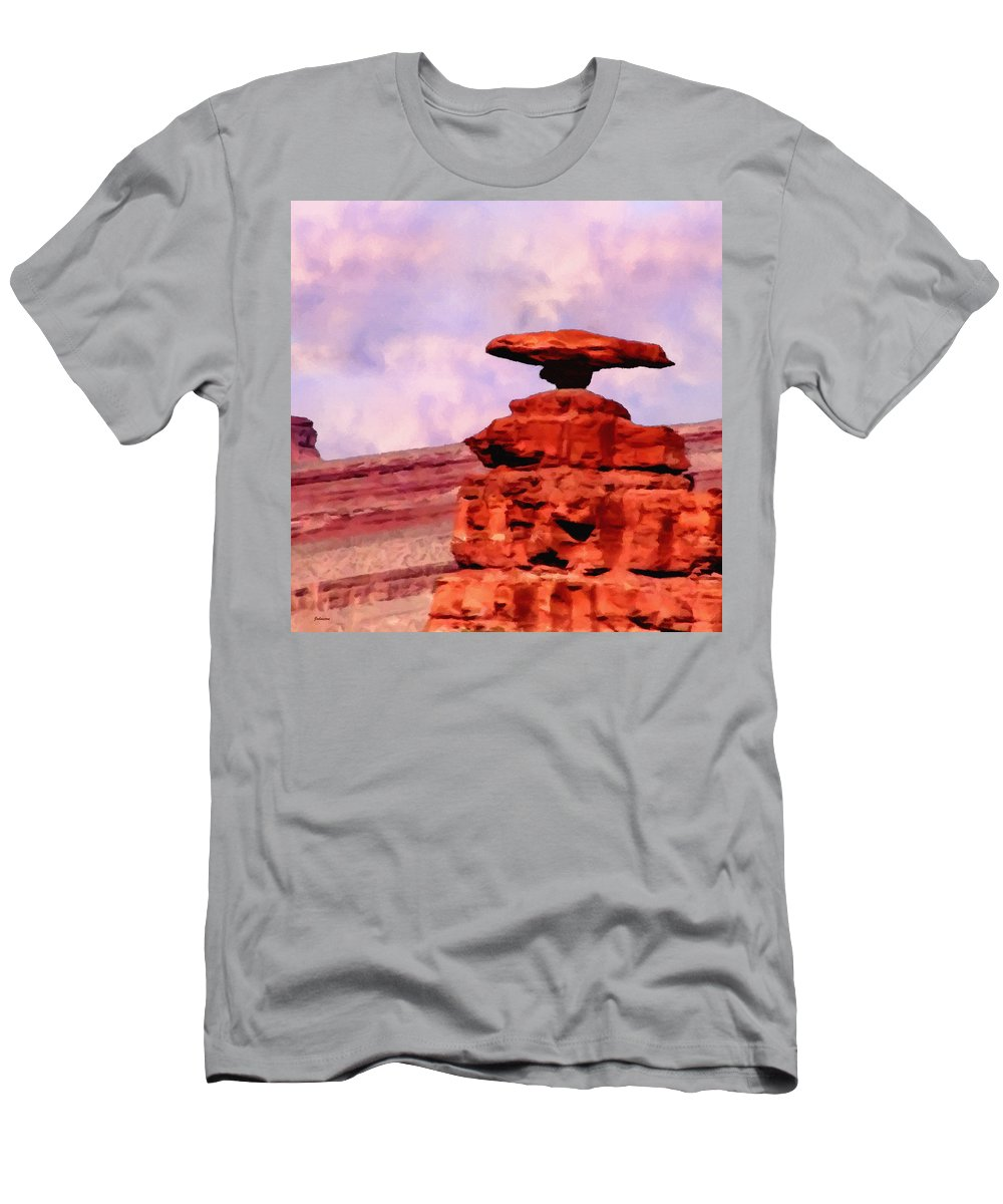 Mexican Men's T-Shirt (Athletic Fit) featuring the painting Mexican Hat Rock by Bob and Nadine Johnston