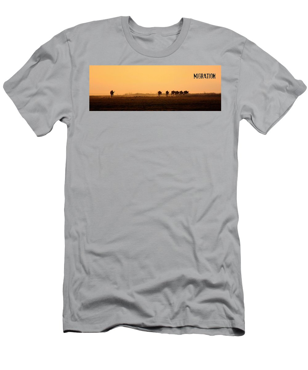 Wildebeests Men's T-Shirt (Athletic Fit) featuring the photograph Migration by Amanda Stadther