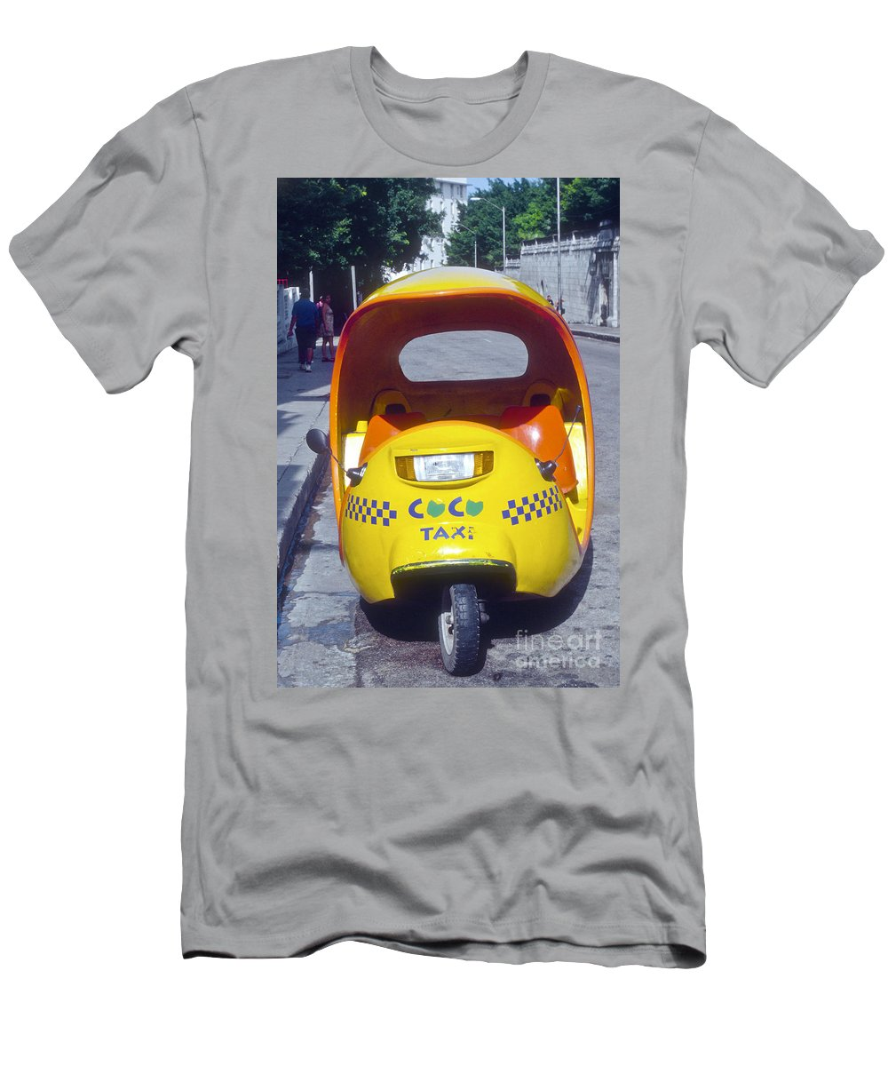 Havana Cuba Mini-cab Cabs Taxi Taxies Auto Autos Automobile Automobile Transportation City Cities Cityscape Cityscapes Motor Vehicle Vehicles Men's T-Shirt (Athletic Fit) featuring the photograph Mini-cab by Bob Phillips