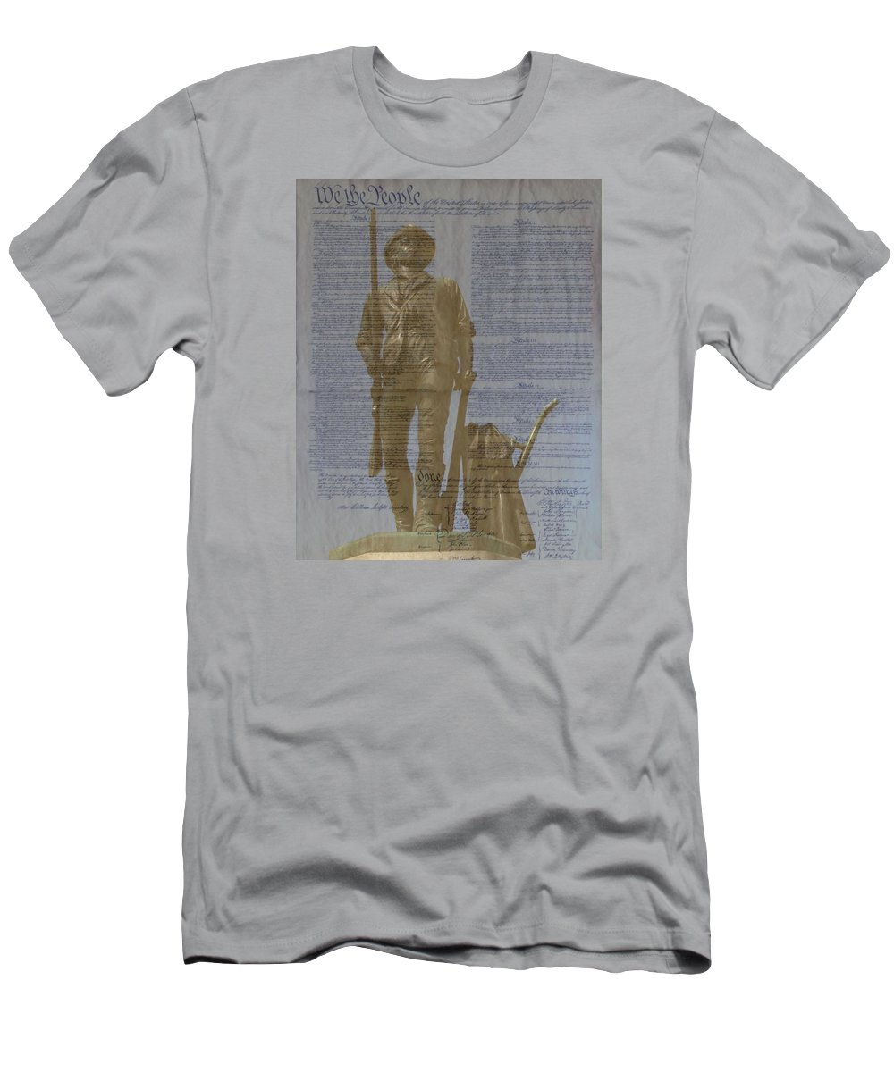 Minuteman Men's T-Shirt (Athletic Fit) featuring the photograph Minuteman Constitution by John Feiser
