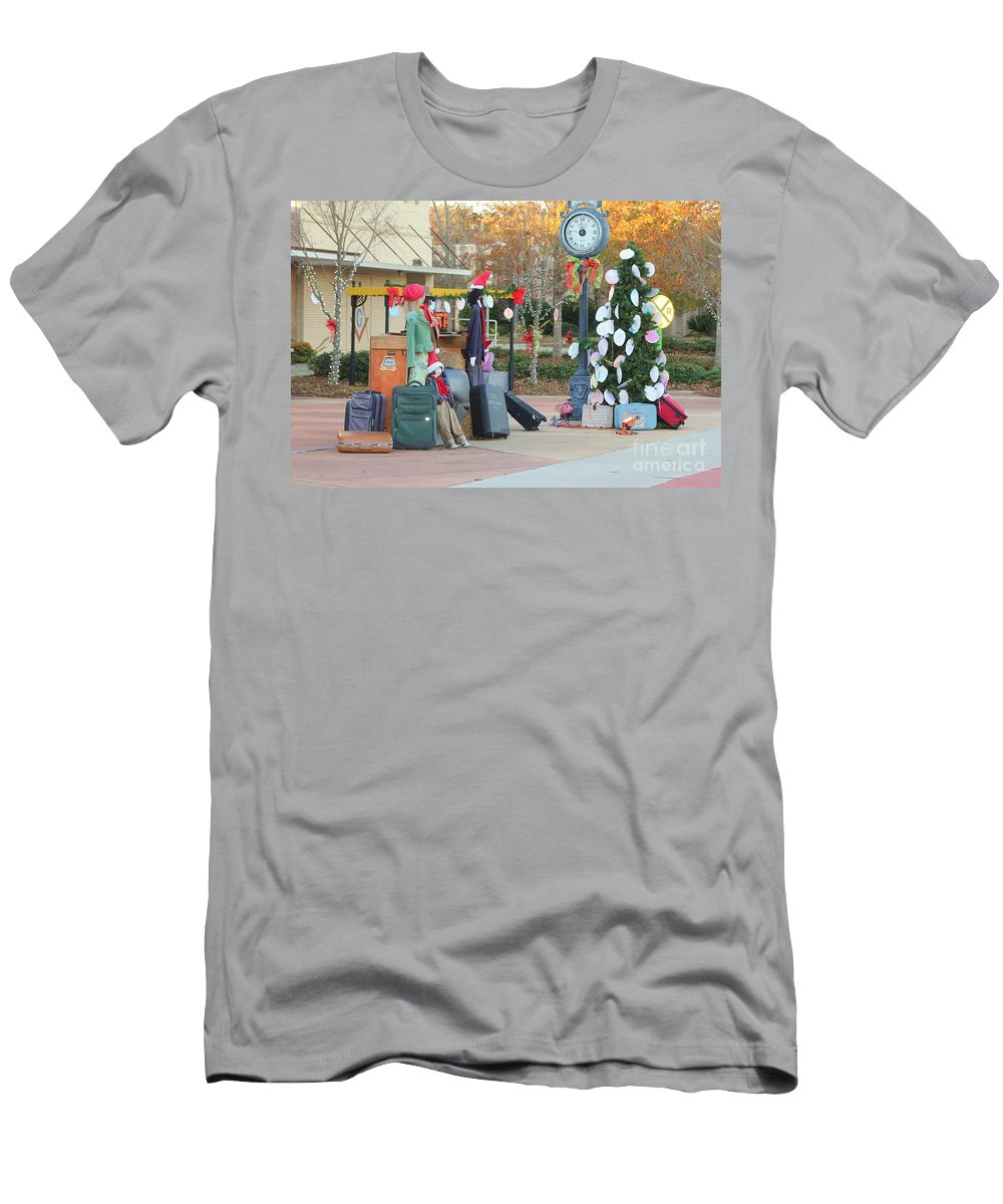 Fire Truck Men's T-Shirt (Athletic Fit) featuring the photograph Mississippi Christmas 7 by Michelle Powell