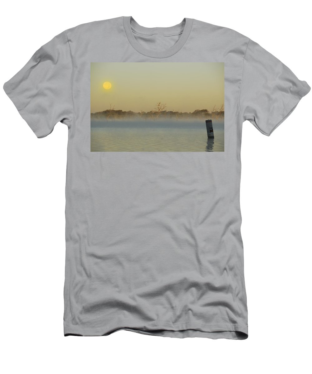 Mist Men's T-Shirt (Athletic Fit) featuring the photograph Misty Lake by Charles Beeler