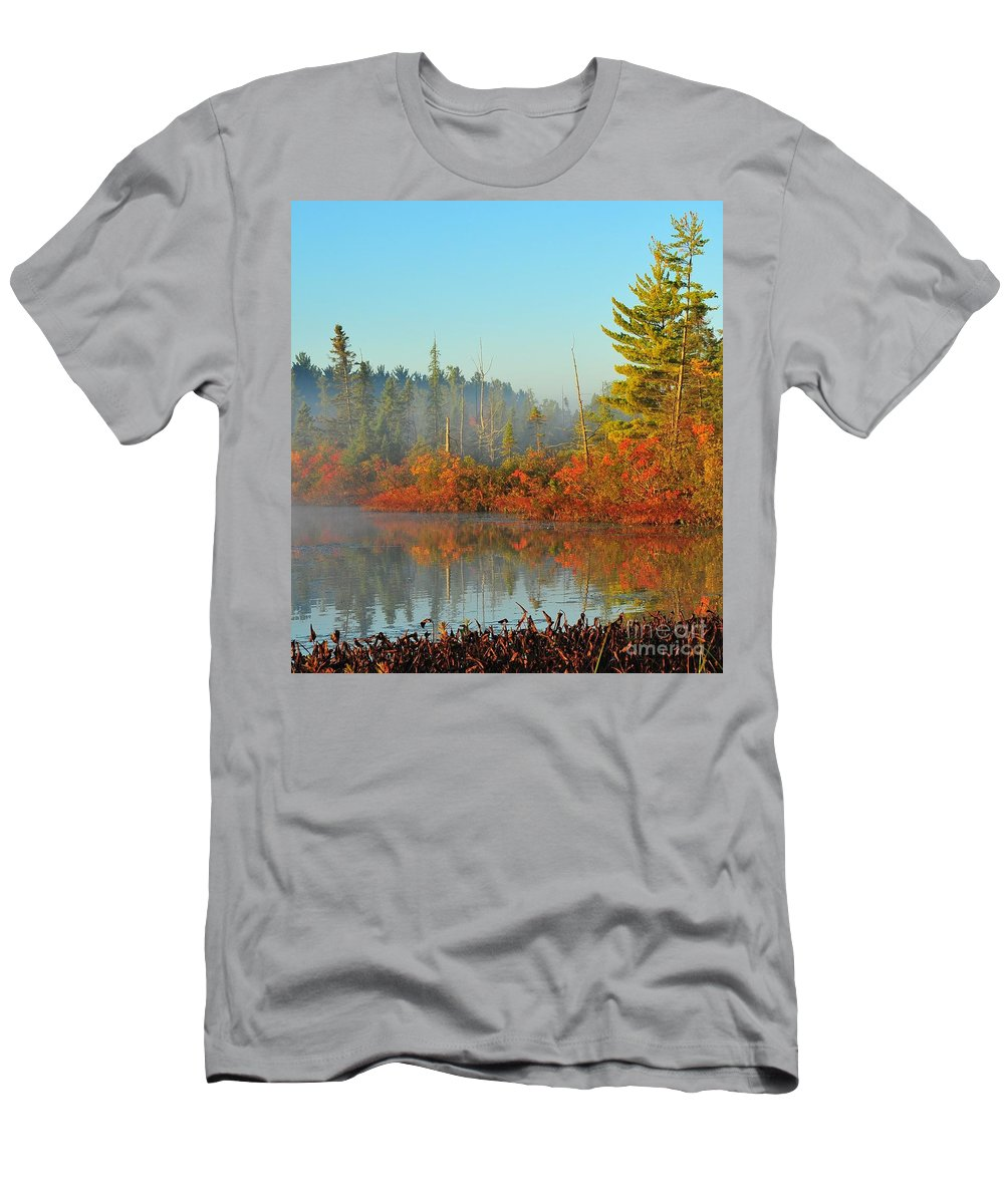 Marsh Men's T-Shirt (Athletic Fit) featuring the photograph Misty Marsh by Terri Gostola