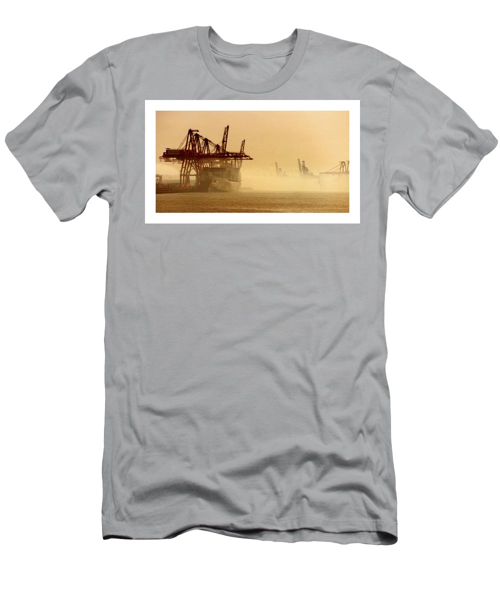 Framed Prints And Note Cards Of The Port Of Seattle�s Seaport Men's T-Shirt (Athletic Fit) featuring the photograph Misty Seattle Waterfront by Jack Pumphrey