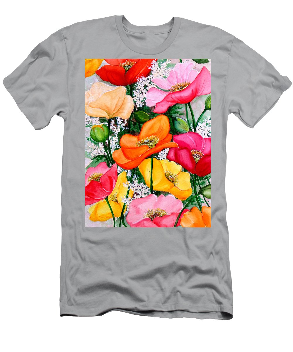 Poppies T-Shirt featuring the painting Mixed Poppies by Karin Dawn Kelshall- Best