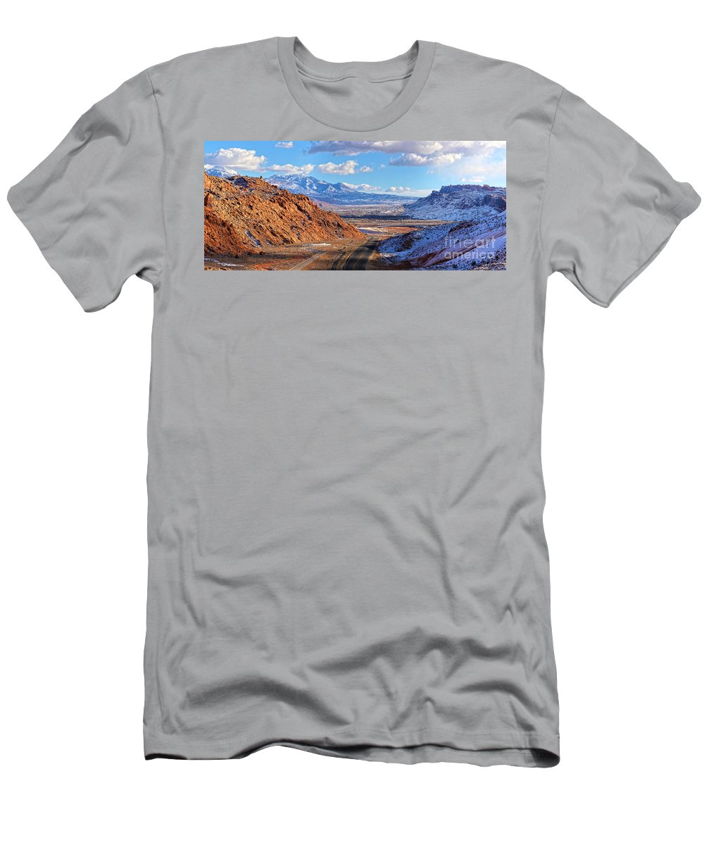 Utah Panorama Men's T-Shirt (Athletic Fit) featuring the photograph Moab Fault Medium Panorama by Adam Jewell