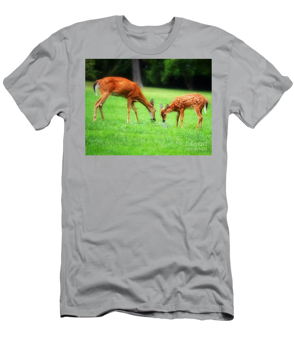Landscape Men's T-Shirt (Athletic Fit) featuring the photograph Mom Sharing A Snack With Her Baby Fawn by Peggy Franz