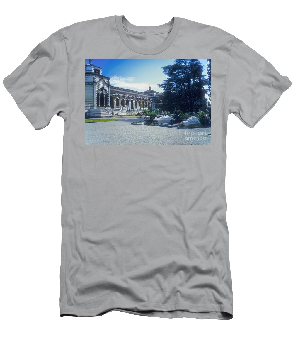 Milan Monumental Cemetery Cemeteries Structure Structures Building Buildings Structures Structure Architecture Grave Site Graves Markers Vault Vaults Landmark Landmarks City Cities Cityscape Cityscapes Italy Men's T-Shirt (Athletic Fit) featuring the photograph Monumental Cemetery by Bob Phillips