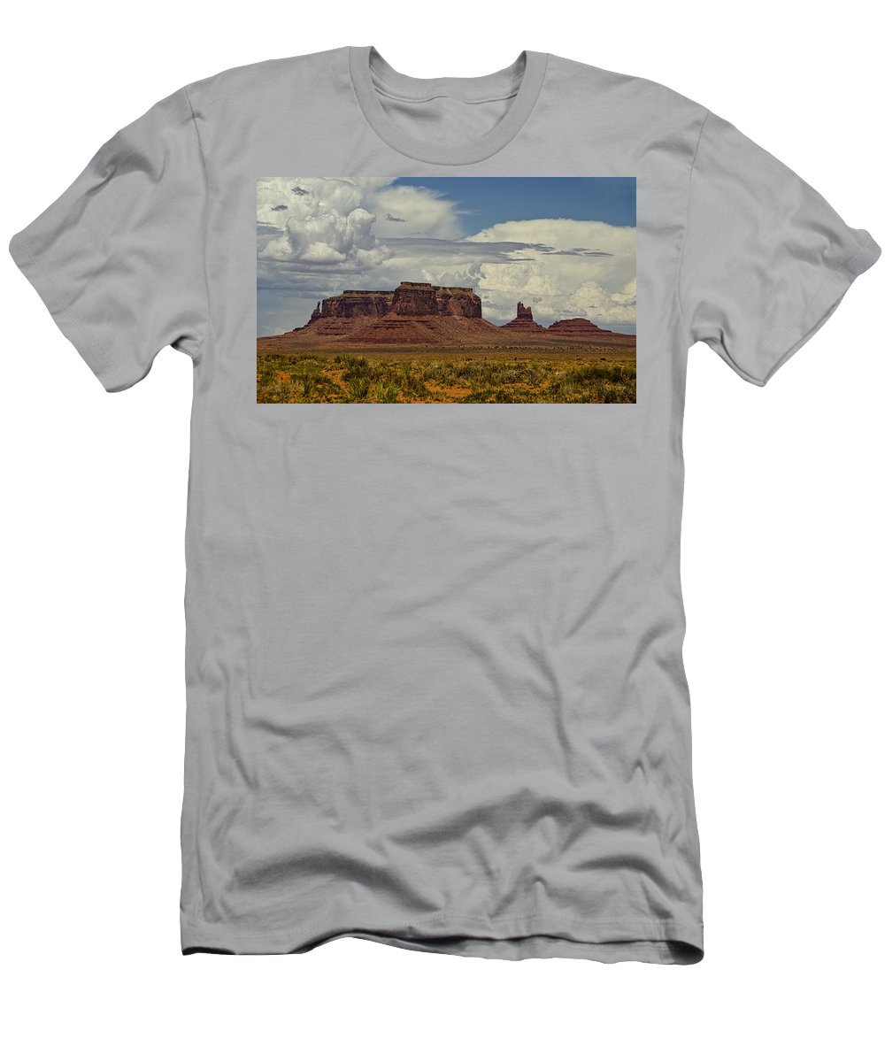 Monument Valley Men's T-Shirt (Athletic Fit) featuring the photograph Monumental Clouds by Saija Lehtonen