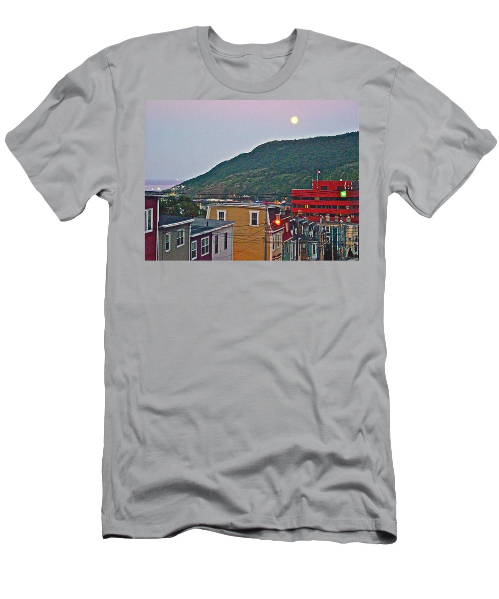 Moon Over Saint John's Men's T-Shirt (Athletic Fit) featuring the photograph Moon Over Saint John's-nl by Ruth Hager