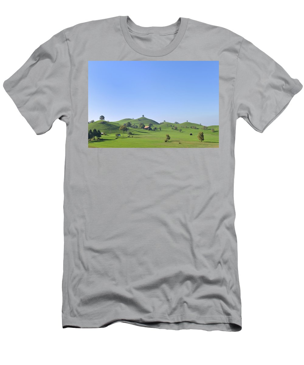 Feb0514 Men's T-Shirt (Athletic Fit) featuring the photograph Moraine Hill Landscape Switzerland by Thomas Marent