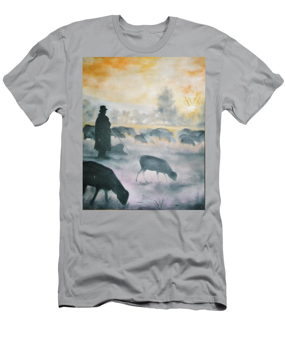 Sheep Men's T-Shirt (Athletic Fit) featuring the painting Morning by Lord Frederick Lyle Morris