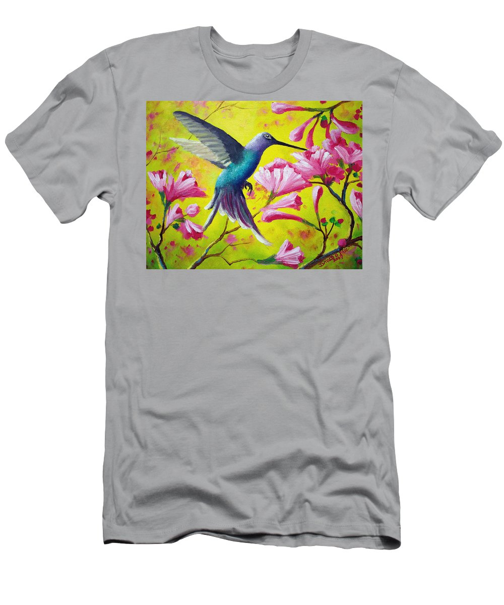 Hummingbird Men's T-Shirt (Athletic Fit) featuring the painting Morning Sweets by David G Paul