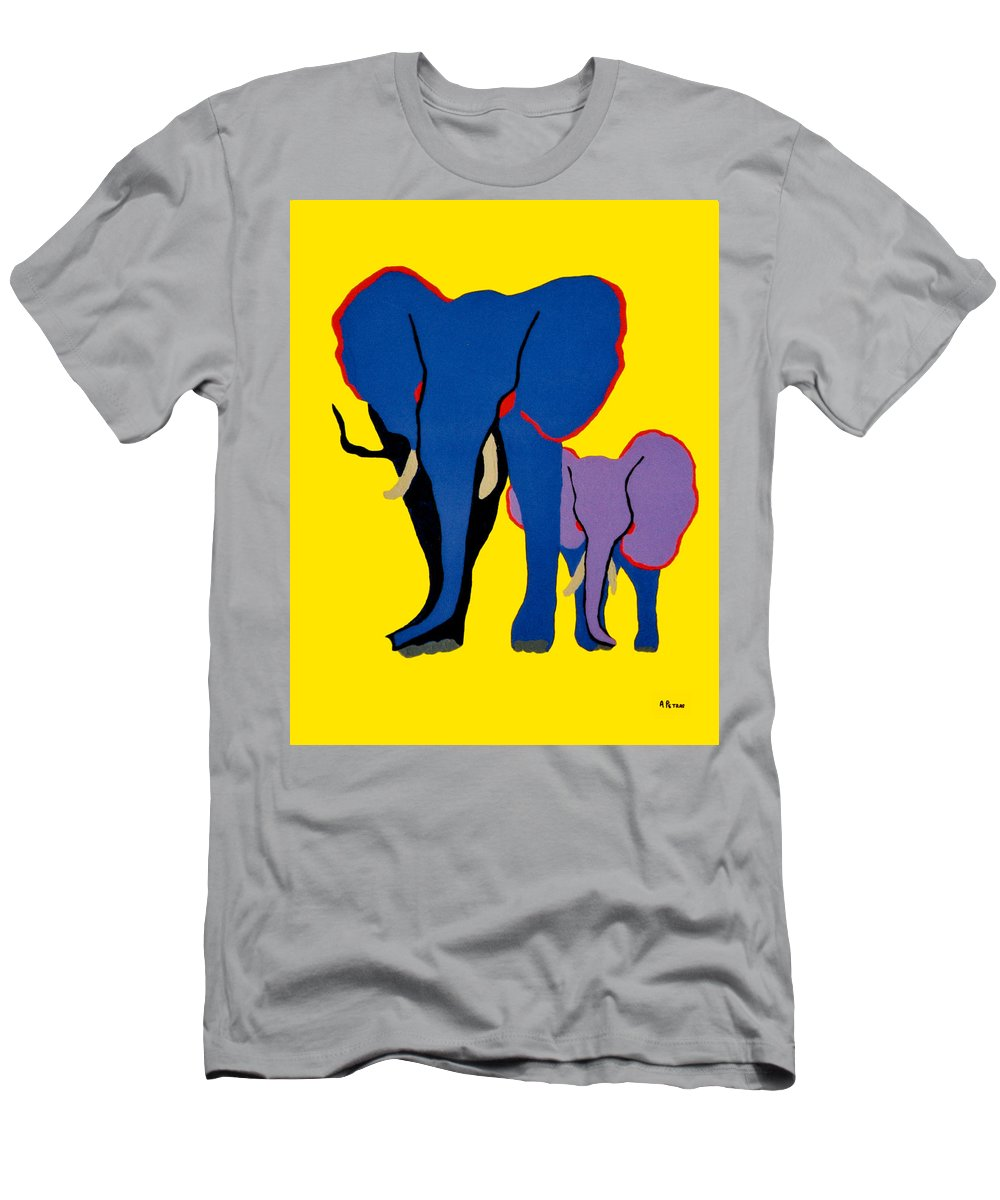 Elephants Men's T-Shirt (Athletic Fit) featuring the painting Mother And Child by Andrew Petras