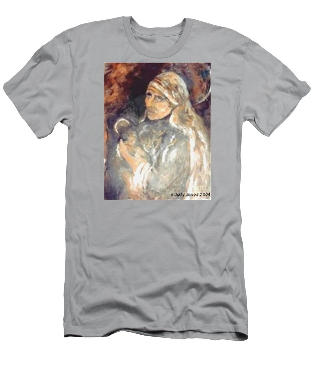 Judy Joy Jones Art Men's T-Shirt (Athletic Fit) featuring the painting Mother Teresa Of Calcutta India by Judy Joy Jones