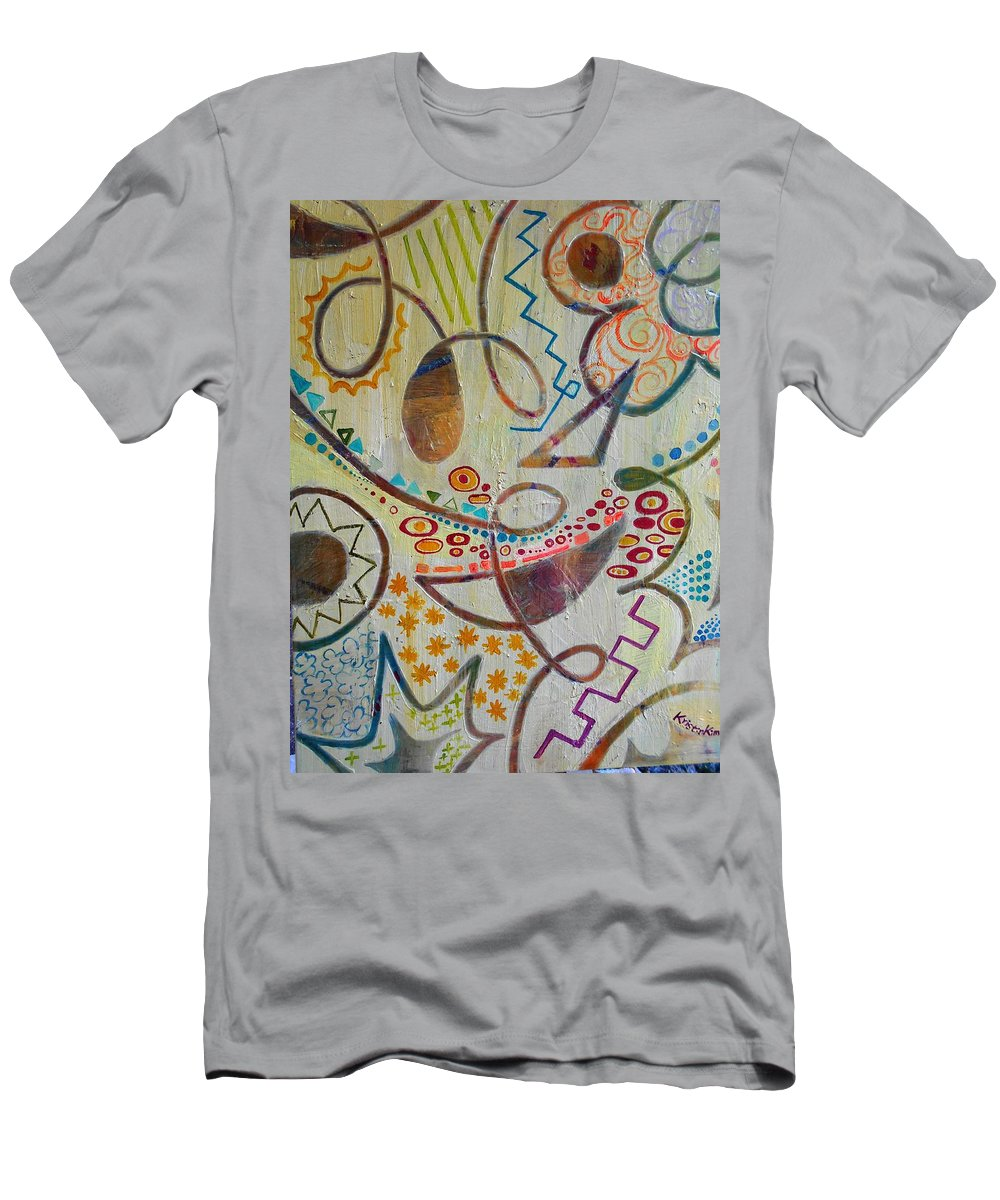 Abstract Of Mom's Love And Happiness Imagination Men's T-Shirt (Athletic Fit) featuring the painting Mother's Room by Kristin Kim