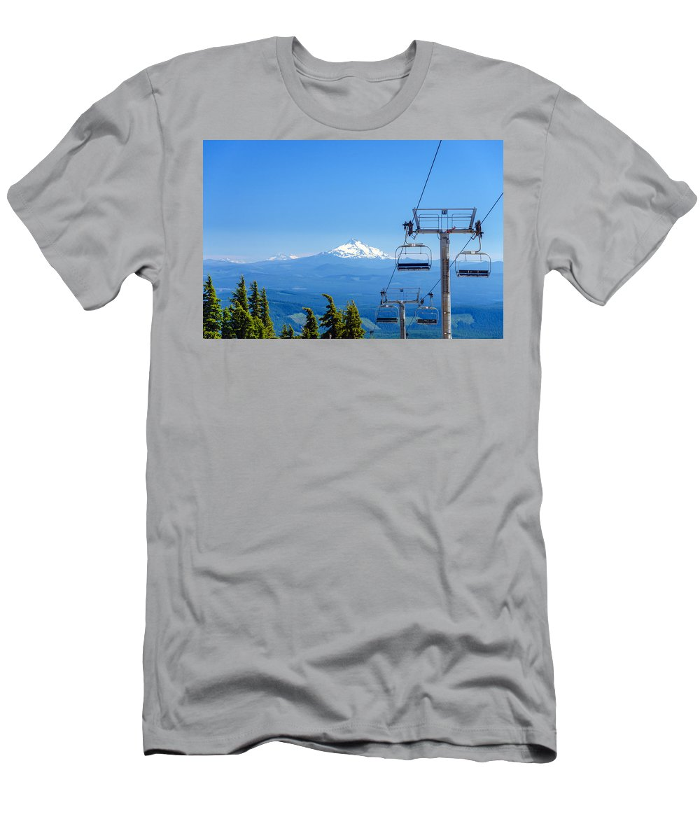 Oregon Men's T-Shirt (Athletic Fit) featuring the photograph Mount Jefferson And Chairlifts by Jess Kraft