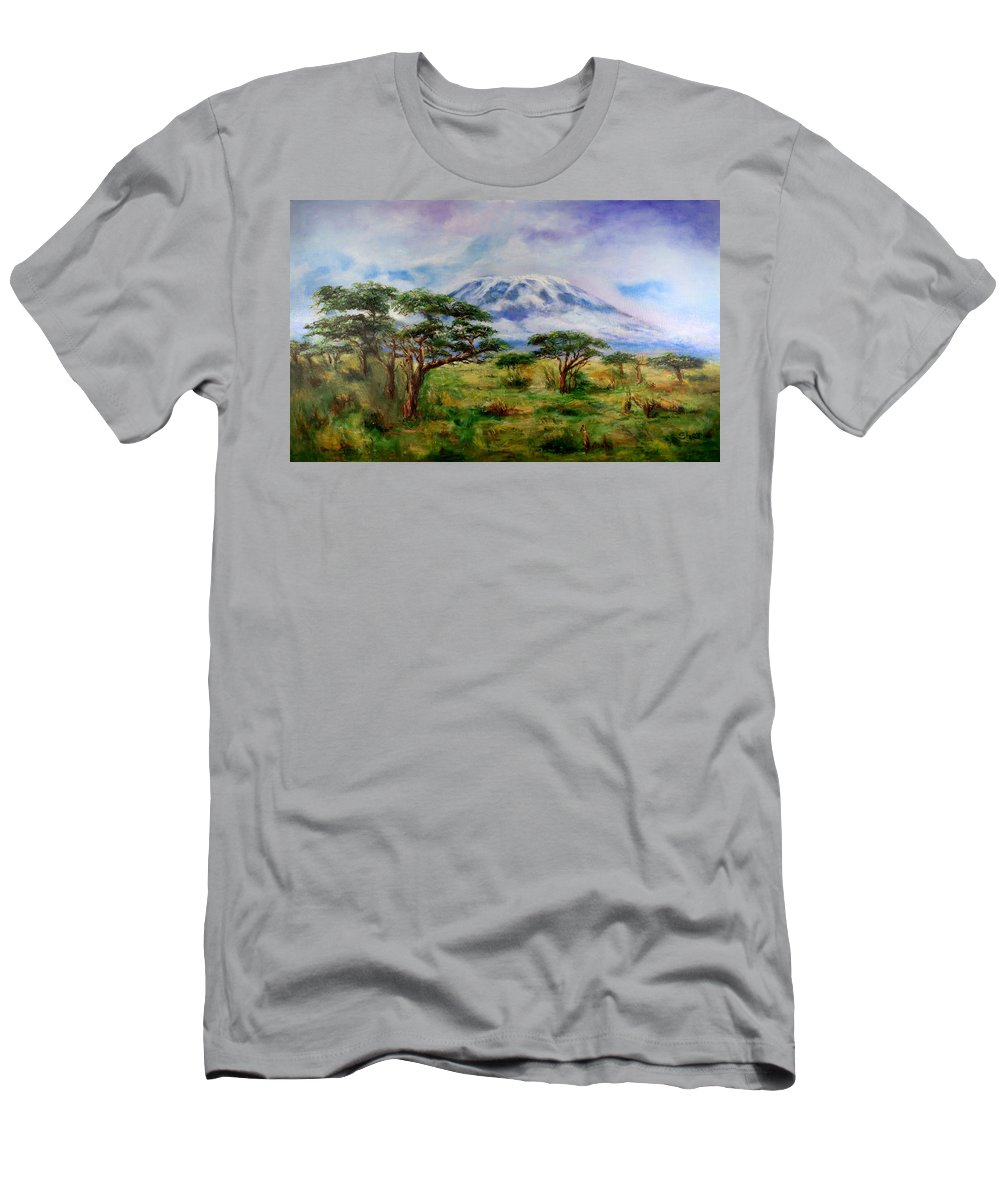 Mount Kilimanjaro Men's T-Shirt (Athletic Fit) featuring the painting Mount Kilimanjaro Tanzania by Sher Nasser