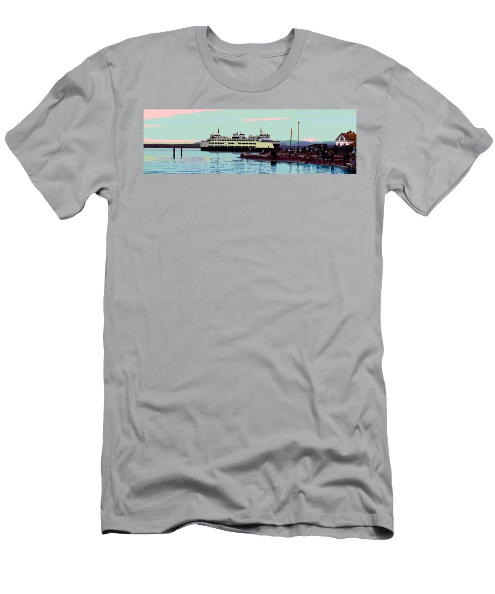 Abstract Men's T-Shirt (Athletic Fit) featuring the digital art Mukilteo Clinton Ferry Panel 3 Of 3 by James Kramer